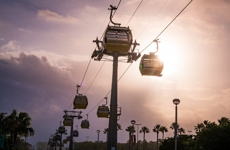 View of the Skyliner gondolas from the ground