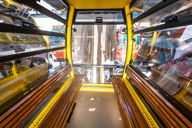 Interior of Disney Skyliner Gondola