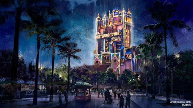 Hollywood Tower Light show concept art for WDW 50th Anniversary celebration