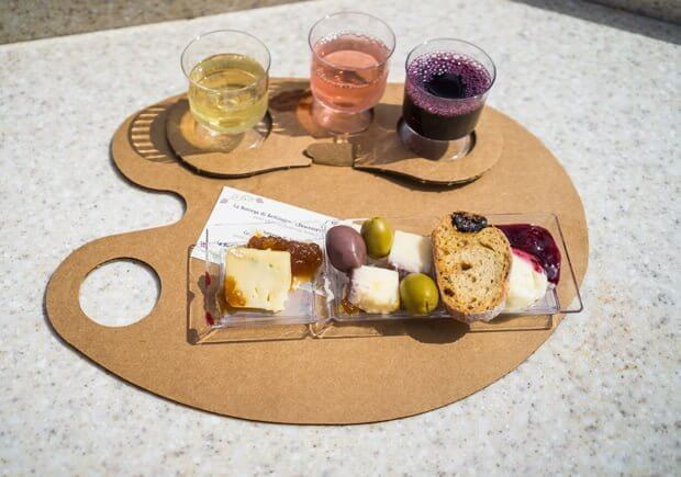 Wine taster and cheese platter at Epcot's International food and wine festival