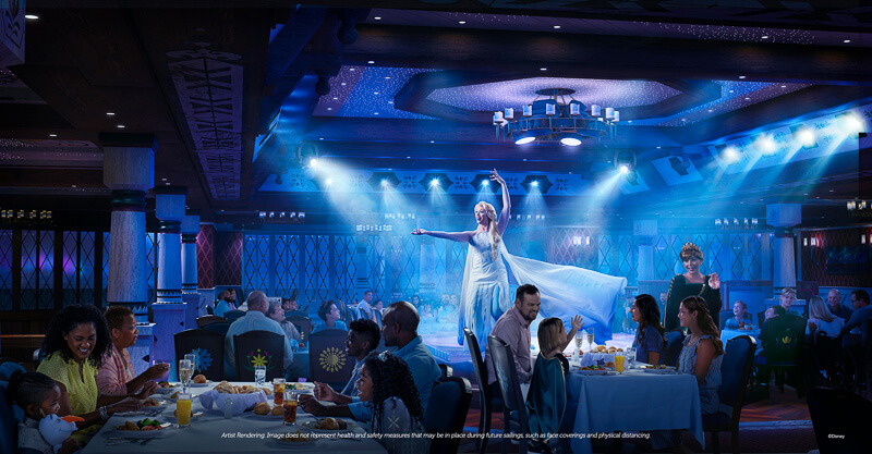 """Arendelle: A """"Frozen"""" Dining Adventure at Disney Wish featuring Elsa singing to a crowd, with Anna interacting with guests while they enjoy delicious food with family."""