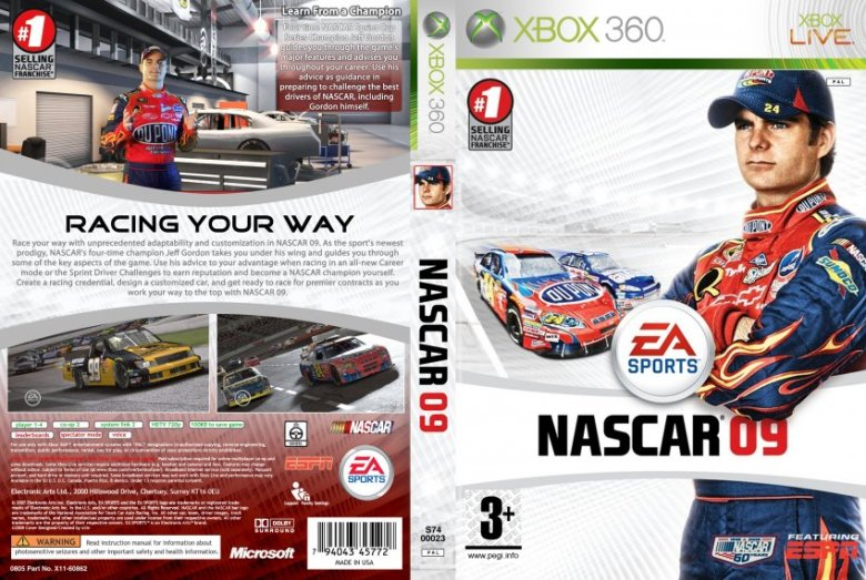 NASCAR 09 - XBOX 360 Game Covers - NASCAR 09 DVD PAL Custom fe2m :: DVD Covers