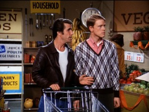 Image result for happy days, fonzie, grocery shopping