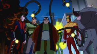 """Esquerda para a direita: Vulture, Sandman, Dr. Octopus, Electro, Shocker, e Rhino. Seis dos muitos vilões da temporada se unem no episódio memorável """"terapia de grupo."""""""