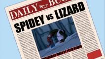 Crédito para do Daily Bugle Spider-Man / lagarto tampa confronto foto fica Peter em problemas com seus colegas em laboratório Dr. Connors.
