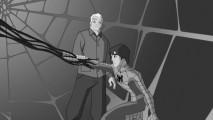 """Tio Ben se estende além da sepultura para assistir Peter / Spider-Man lutar com o poderoso simbionte na predominantemente em tons de cinza """"Intervention""""."""