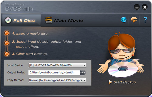 DVDSmith Movie Backup for Windows interface