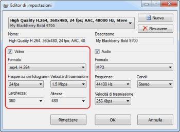 Preset Editor: definisci la configurazione di video