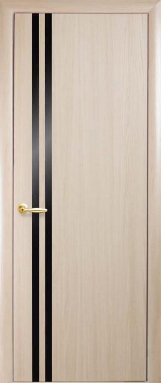 Двери Вита Новый Стиль дуб жемчужный с черным стеклом