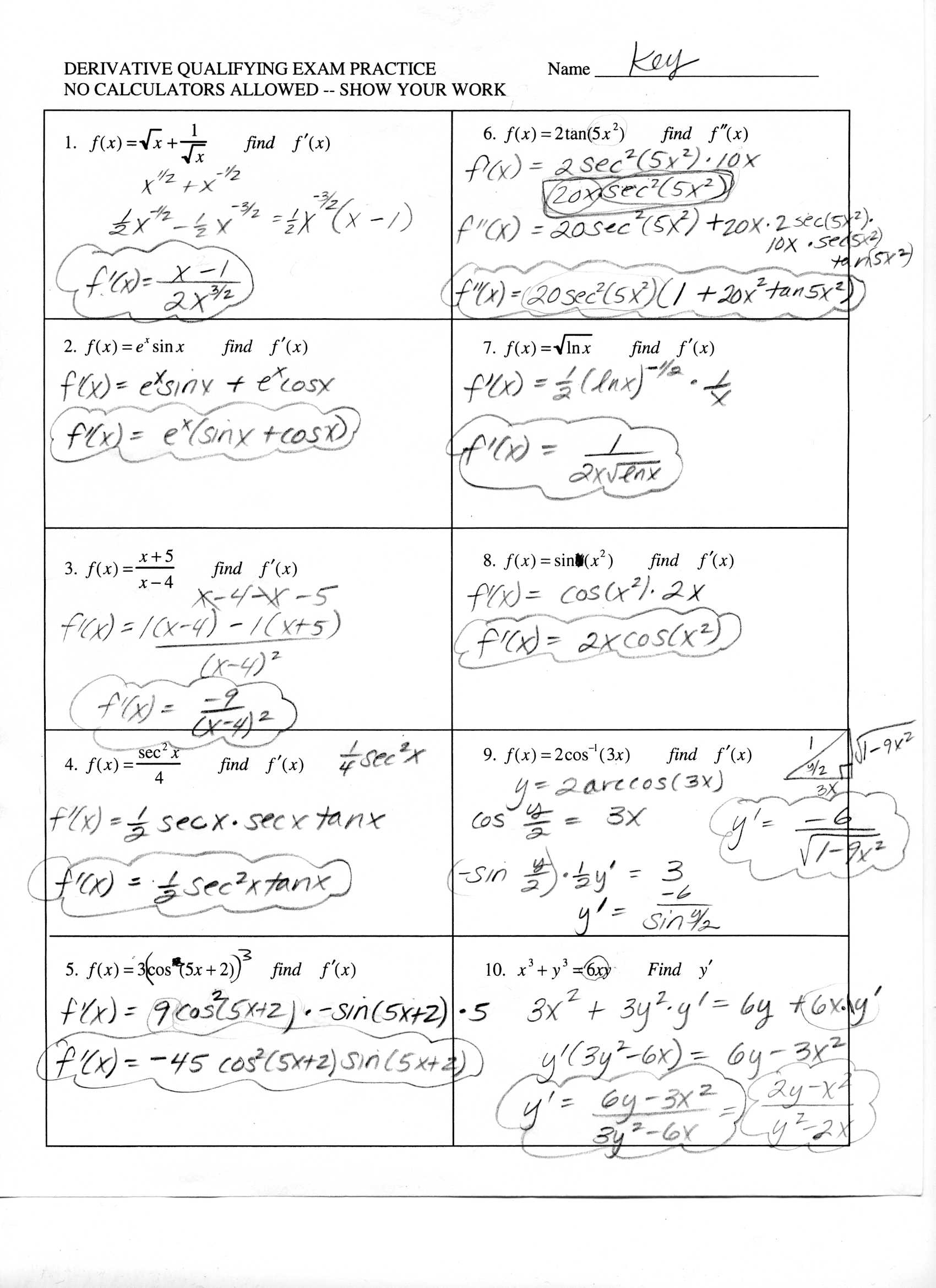 Ap Calculus Summer Worksheet Answers
