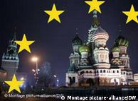 Five stars from part of the EU flag superimposed over a night shot of the Kremlin