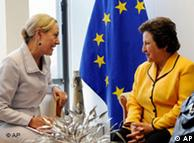 Shirin Ebadi with EU External Affairs Commissioner Benita Ferrero-Waldner on Tuesday, June 23, 2009