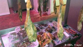 A picture and selection of Halal ham curing the factory.
