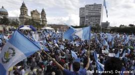 Aπό διαδήλωση στην Πόλη της Γουατεμάλας κατά του προέδρου Ότο Πέρες Μολίνα