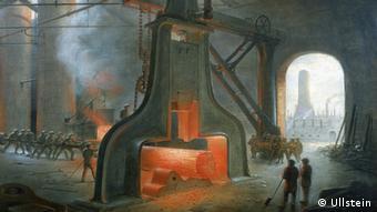 Gezeichnetes Bild einer Fabrikhalle in Manchester zur Zeit der Industriellen Revolution (Foto: Ullstein).