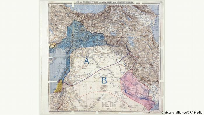 Historische Karte Sykes-Picot Abkommen