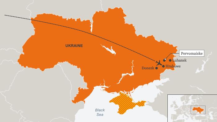 Karte Flug MH17
