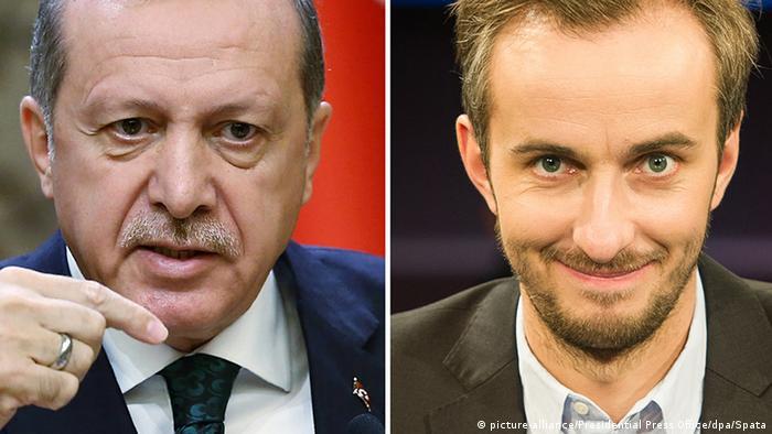 A picture combo of Turkish President Recep Tayyip Erdogan and German satirist Jan Böhmermann (picture-alliance/Presidential Press Office/dpa/Spata)