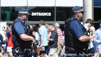Armed police officers outside a rugby match at Twickenham in London. Lauren Hurley/PA Wire