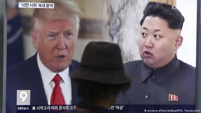 Seoul: Donald Trump and Kim Jong Un on a TV screen (picture alliance/dpa/AP/A. Young-joon)