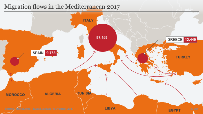 Map showing number of migrants crossing the Mediterranean to Europe