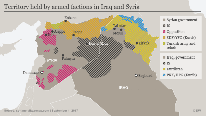 Territory held by armed factions in Iraq and Syria