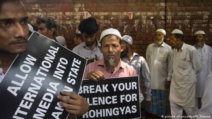 Rohingya-Konflikt in Myanmar - Proteste in Neu-Delhi (picture alliance/dpa/M. Swarup)