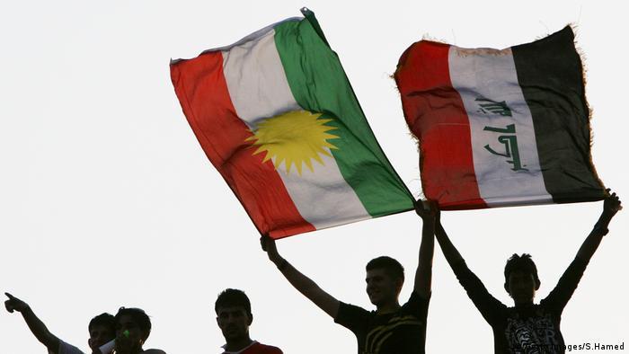 Flags of Kurdistan and Iraq