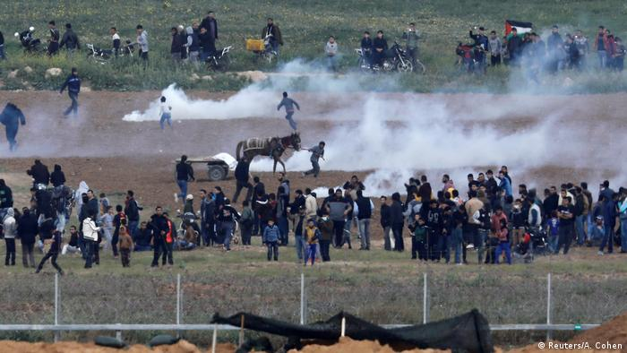 Tear gas was used against Palestinians