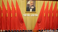 Karl Marx poster in Great Hall of the People (Reuters/J. Lee)