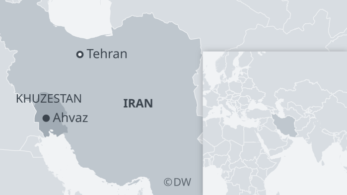A map of Iran with the areas affected