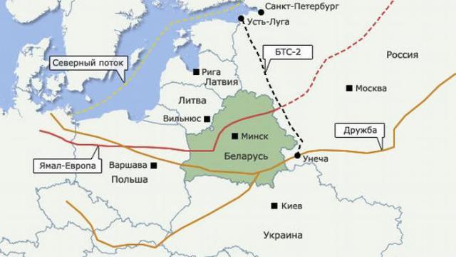 Oil pipelines passing through Belarus