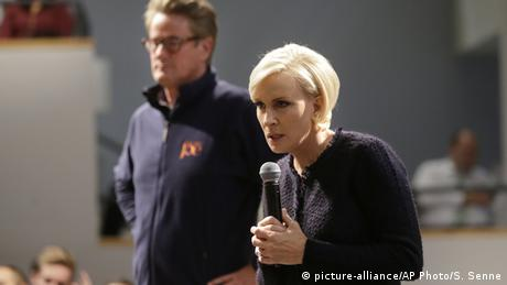 MSNBC co-anchors Mika Brzezinski & Joe Scarborough speak at Harvard University (picture-alliance / AP Photo / S. Senne)