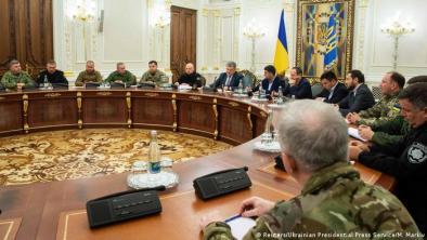 Ukraine Kiew Präsident Poroschenko beim Treffen mit dem nationalen Sicherheitsrat (Reuters/Ukrainian Presidential Press Service/M. Markiv)
