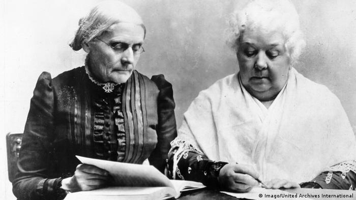 Susan B. Anthony and Elizabeth Cady Stanton sit side by side and write something.  (Imago / United Archives International)