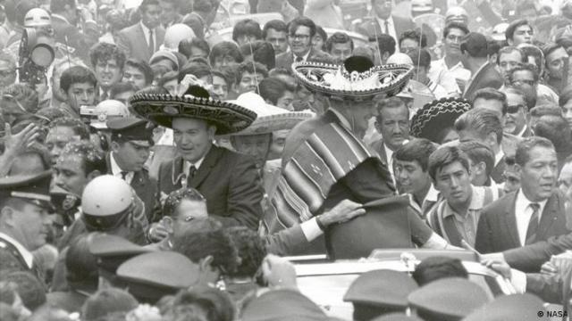 Die Apollo 11-Astronauten mitten in einer Parade in Mexiko-Stadt.