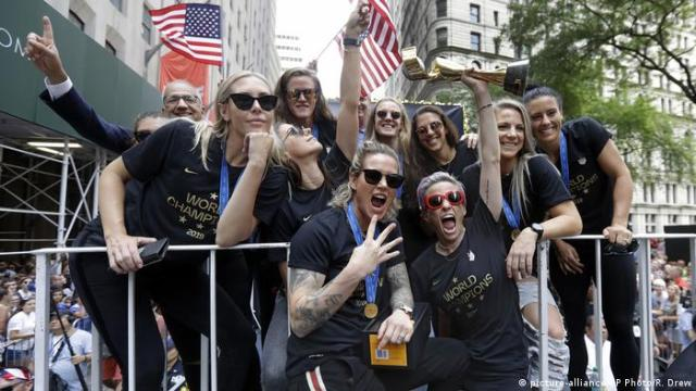 USA soccer team celebrate World Cup victory