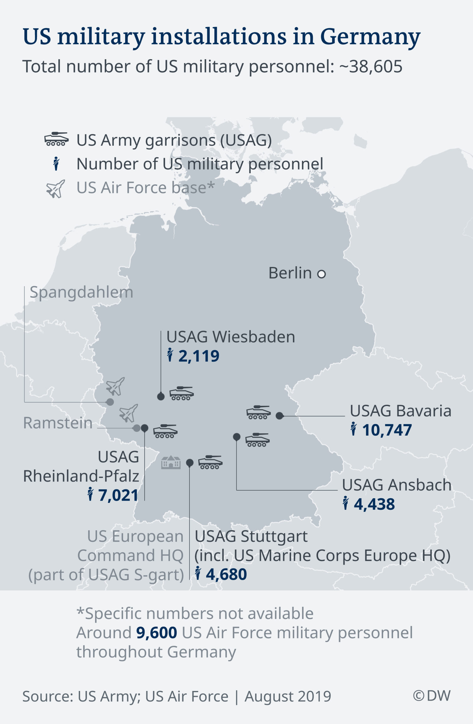 Donald Trump, the US Army and Germany: What is really going on? Infographic showing US military bases in Germany
