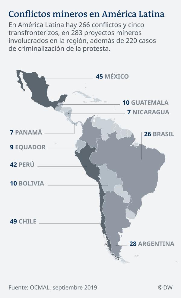 Karte Lateinamerika Bergbaustreitigkeiten ES