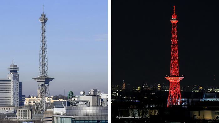 Berlin radio tower day and night