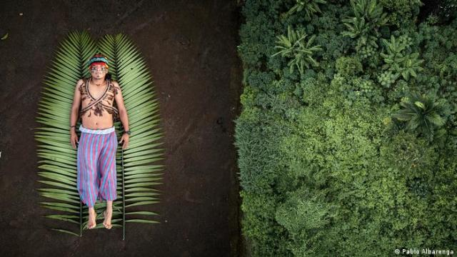 A man wearing face paint and traditional dress lies on a two palm leaves. His image juxtaposed with an aerial view of a forest