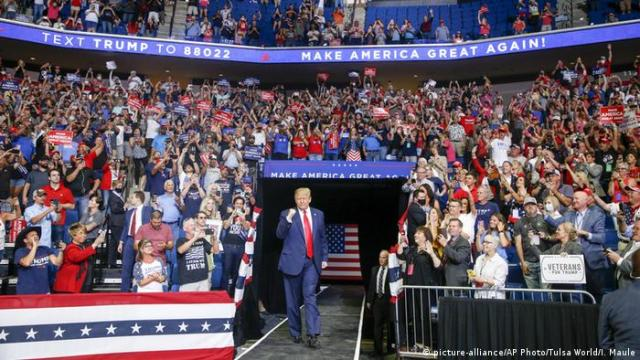 US President Donald Trump riles up his campaign rally in Tulsa on June 20