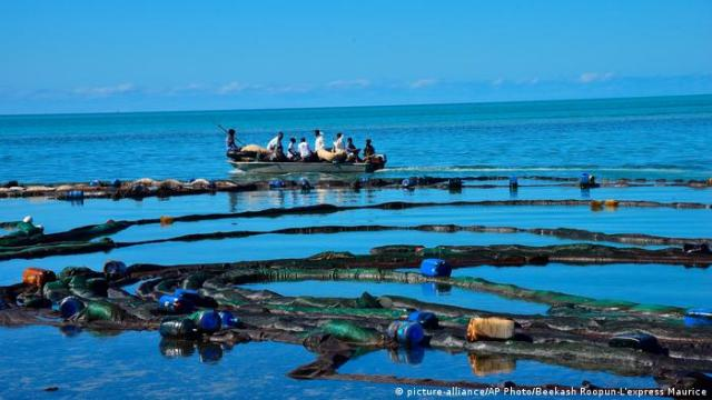 Oil spill on the coast of Mauritius