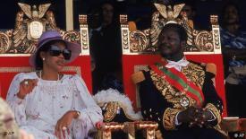 Jean-Bedel Bokassa en compagnie de son épouse à Bangui en décembre 1977