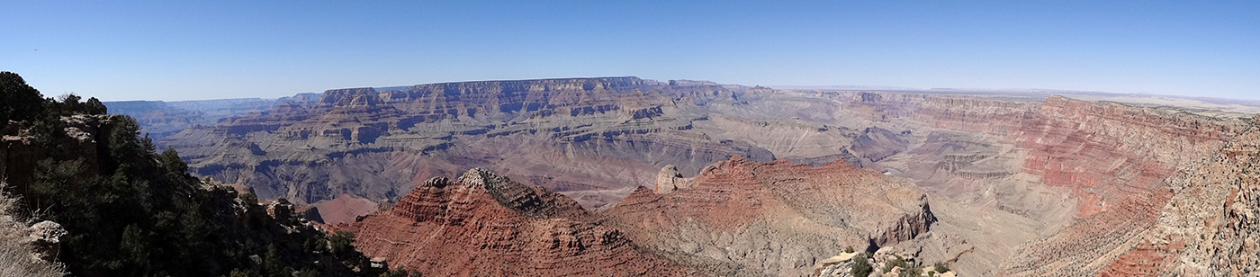 Panoramic view of a portion of Grand Canyon from the South Rim.