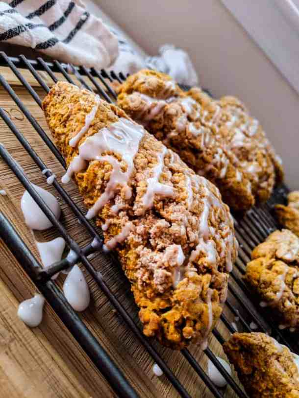 scones drizzled with glaze