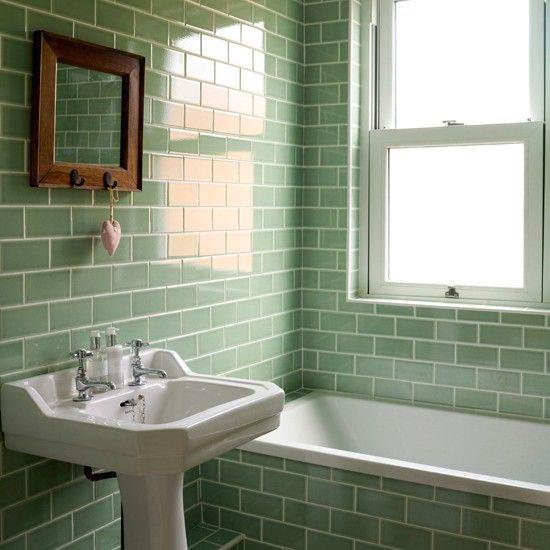subway tile green bathroom