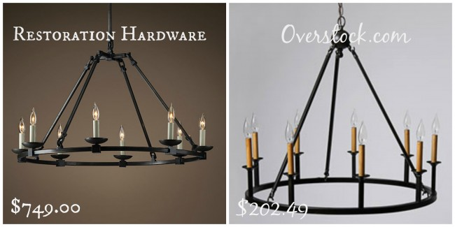 I loooovee the rustic feeling of the Restoration Hardware chandelier. The little faux candles the simple round iron base; gorgeous. I found a similar one ... & Get the Look for Less: Restoration Hardware Living Room - Dwell ... azcodes.com