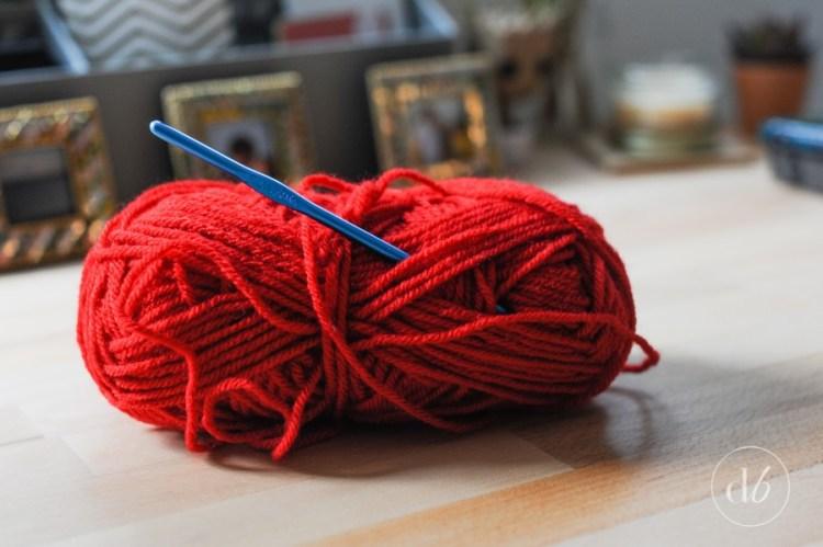 crocheted heart door hanger