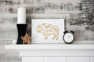 gold glitter geometric buffalo canvas art